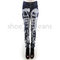New Women High Waist Skinny Jeans Bleached Wash Ripped Destroyed Denim Pants
