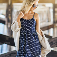 Miranda Navy Polka Dot Dress