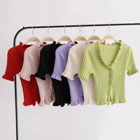 Spring fungus lace wool cardigan women's knit T-shirt