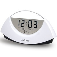 Daffodil AMC530B Portable LCD Alarm Clock with Calendar and Thermometer - Powered by 2 AAA Batteries - White with Black Base