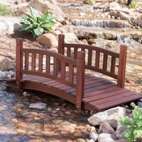 4-Ft Garden Bridge in Red Shorea Wood with Protective Oil Finish