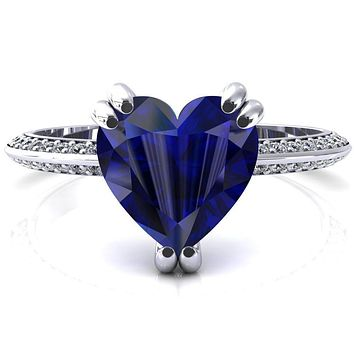 Nancy Heart Blue Sapphire 3 Double Prong 1/2 Eternity Diamond Knife Shank Accent Engagement Ring