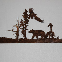 Bear and Eagle Flying Sign Decorative Metal Scene