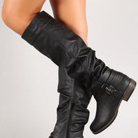 Strappy Slouchy Knee High Riding Boot