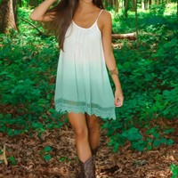 Blurred Lines Dress-Seafoam