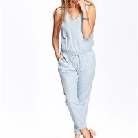 Women's Sleeveless Chambray Rompers