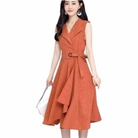 A-Lin v-neck Cotton Linen Summer  Sleeveless Work Office Wear Casual Midi Dress