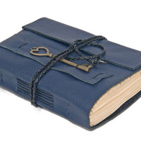 Navy Blue Leather Journal with Tea Stained Paper and Key Charm Bookmark - Ready to ship