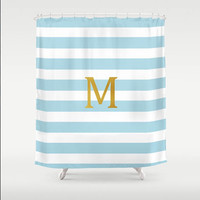 Custom Personalized Gold Monogram Light Blue Stripe Shower Curtain Your Initial  Home Bathroom Decor