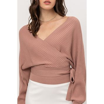 Relaxed Fit Wrap Front Long Sleeve Sweater Top