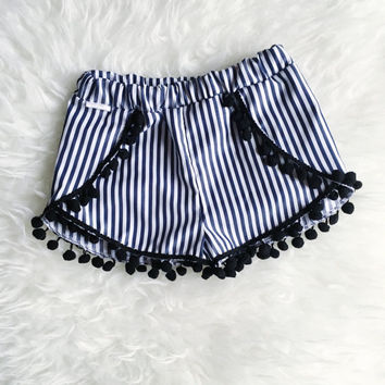 Baby toddler tulip shorts with pom pom trim   coachella baby shorts   festive baby outfit