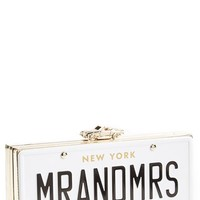 kate spade new york 'mr. and mrs. - happily ever after' license plate box clutch - White