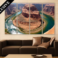 Horseshoe Bend Wall Art 4 Panels Canvas Print Wall Decor Wall Art River Arizona Landscape Photography for Home and Office Wall Decoration