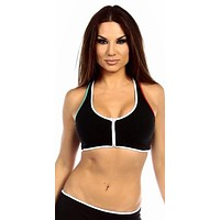 Sexy Neon Trim Zip Front Fourth Dimension Athletic Stretch Sports Bra Top - Black/White/Teal/Red
