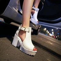Peep Toe T Strap Buckle Platform Sandals High Heels 1317