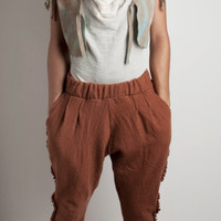 Wool Pants felted, pockets and little ruffles, knitted pure merino wool