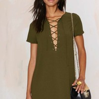Runnin' with the Devil Lace Up Dress - Olive