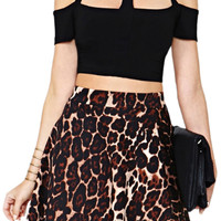 ROMWE Cut-out Midriff Slim Black T-shirt