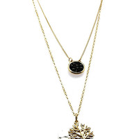 NECKLACE / TWO TONE METAL / TREE OF LIFE PENDANT / HAMMERED / TEXTURED / TWO LAYER / HOMAICA BEAD / LINK / CHAIN / 14 INCH LONG / 3 INCH DROP / NICKEL AND LEAD COMPLIANT