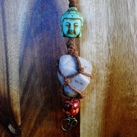 Om & Buddha Hippie Necklace, Macrame Blue Agate Necklace, Bohemian Buddha Necklace, FREE SHIPPING