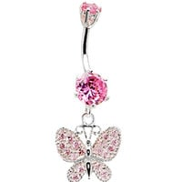 925 Sterling Silver Pink CZ Dangle Butterfly Belly Ring | Body Candy Body Jewelry