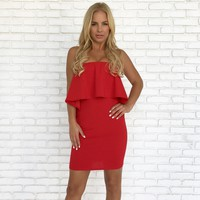 Kiss Goodnight Bodycon Dress in Fire Red