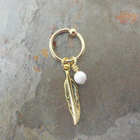 White Turquoise Cartilage Hoop Silver Feather CBR Earring Belly Button Jewelry