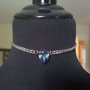Royality - Swarovski Pear Crystal Choker Necklace on Stainless Steel Chain