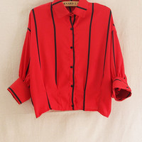 Red Striped Loose Polo Shirt