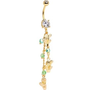 Handcrafted Clear Green Gem Gold Tone Thirsty Cactus Dangle Belly Ring
