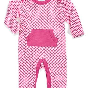 Infant Girl's Jaxxwear Print Pima Cotton Romper