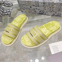 Christian Dior hot sale pattern embroidery letters ladies casual sandals beach slippers Shoes Yellow