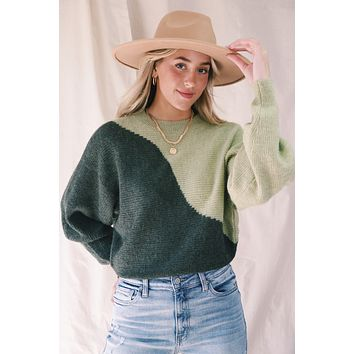 Chrissi Color Block Sweater, Olive Moss