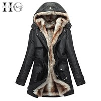 HEE GRAND Women Basic Jackets Winter Coats Faux Fur Woman Warm Parka Hood Coat Plus Size S-3 XL Oversize 2 Pieces Sets WWM056