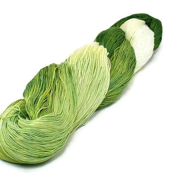 150 Yards Hand Dyed Thread Cotton Crochet Thread Size 10 3 Ply Specialty Thread Green Ombre White Thread Hand Painted Fine Cotton Yarn