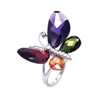 925 Sterling Silver  Multi Color Butterfly Cubic Zirconia Ring: Size: 5