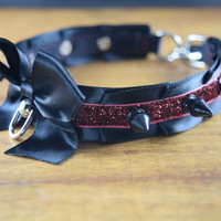 Fiery Pleated Pet Play and BDSM Ribbon Collar