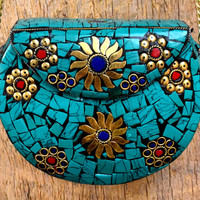 Indian Metal Clutch,Hand Crafted,Inlaid Stone Purse Box,Ethnic Metal Purse,Gypsy Boho Metal Chain Clutch,Bohemian Handcraft Clutch Purse