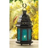 Blue Glass Moroccan Style Hanging Candle Lantern