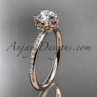 """14kt rose gold diamond floral wedding ring, engagement ring with a """"Forever One"""" Moissanite center stone ADLR92"""