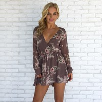 Dusty Rose Floral Romper