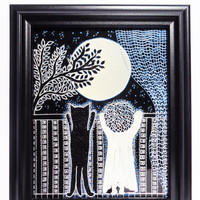 Cat and Baby & Moon art Glass painting Black and white art Painted glass