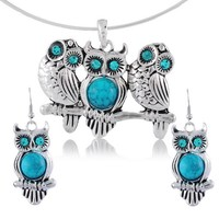 Encounter Jewelry Easter Gift Tibetan Silver Oval Turquoise Crystal Owl Necklace Earrings Set for Women