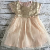 "The ""Emma"" Peachy Pale Pink and Gold Sequin Infant Toddler Dress"
