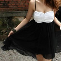 White and Black Color Block Spaghetti Strap Chiffon Dress