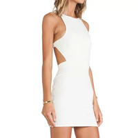 White Cutout Back Sleeveless Bodycon Dress