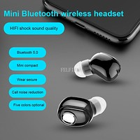 Mini Wireless Bluetooth Earphone V5.0 Stereo in-ear Headset with Mic Sports Running Earbuds Earphones for Android IOS all phone