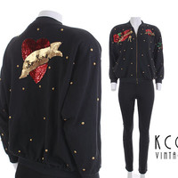 Studded Sequin Jacket Be Mine Amore Mio 80's Vintage Bomber Clothing Size Small-Medium / Black Gold Red Valentine Novelty Love Oversized USA