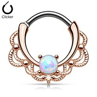 Rose Gold Plated Round Opal Centered Filigree WildKlass Septum Clicker Rings