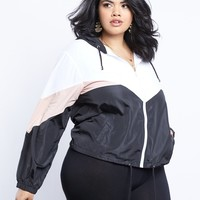 Plus Size Sporty Girl Color Block Windbreaker
